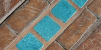 blue multicolored tile/ceramic architectural weathered angled floor