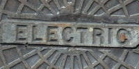 manhole sign pattern textual mech/elec metal gray