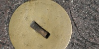 metallic concrete metal industrial shiny round manhole street