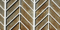 gray white metal architectural pattern angled fence
