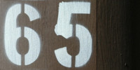 sign numerical industrial metal paint dark brown white