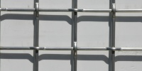 white metallic metal architectural shadow square fence